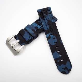 (2438) 全新 Panerai 24mm OEM藍色迷彩矽膠代用膠帶配精鋼錶扣