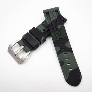 (2439) 全新 Panerai 24mm OEM綠色迷彩矽膠代用膠帶配精鋼錶扣