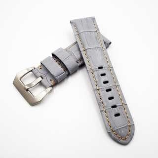 (2445) 全新 24mm 淺灰色竹節紋牛皮通用錶帶配精鋼針扣 合適 Panerai, Seiko, Bell & Ross, Tudor 等等