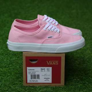 VANS AUTHENTIC PINK WHITE PREMIUM DT BNIB MADE IN CHINA BAHAN CANVAS, RUBBER SOLE Size:37/38/39/40