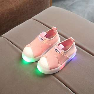 👟Kids LED Flash Light Sports Shoes Boys Girls Shell Head Ribbon Shoes👟