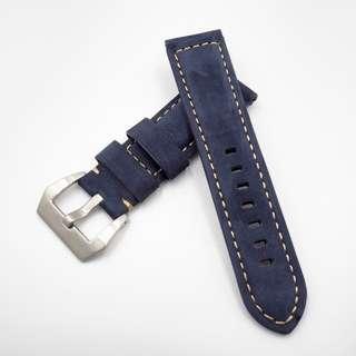 (2444) 全新 24mm 藍色磨砂面牛皮通用錶帶配精鋼針扣 合適 Panerai, Seiko, Bell & Ross, Tudor 等等
