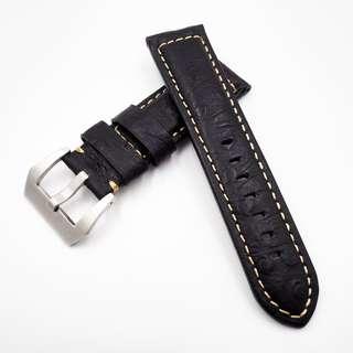 (2443) 全新 24mm 黑色豆豆紋牛皮通用錶帶配精鋼針扣 合適 Panerai, Seiko, Bell & Ross, Tudor 等等