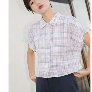 Checkered Crop Boxy Button Top