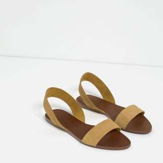 NWT Zara Flat Leather Sandals, Sz 36, Mustard, 100% Suede Leather