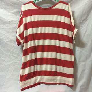 RED AND WHITE STRIPES BLOUSE W/SIDE SLITS