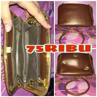 Tas Pouch Clutch Guchi Brown