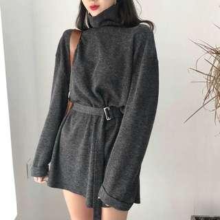 炭灰色針織連身裙
