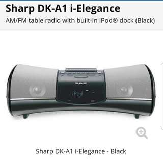 Sharp AM/FM Table Radio with built in iPod dock