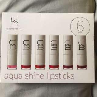 CoB aqua shine lipsticks (6 different shades)