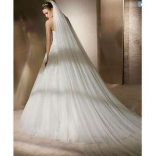 3m tulle ivory veil with transparent comb used for wedding