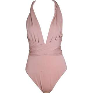 Brush Pink Multi-way Swimsuit Bodysuit UK6 XS 多種著法淺粉色連身泳衣 (postage included)