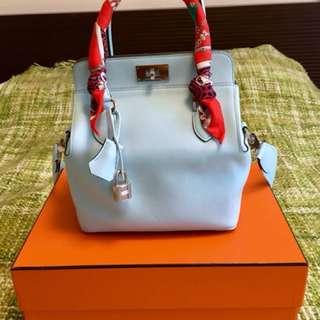 Hermes toolbox 20 bleu zephyr 微風藍 swift 皮