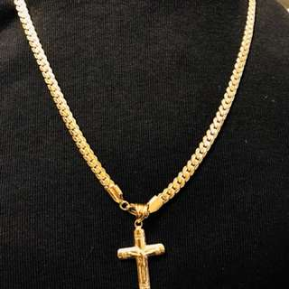 6mm gold plated necklaces with cross