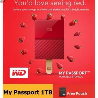 WD (1 TB) external HD ( RED colour )