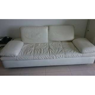 Sofa Bed White Leather