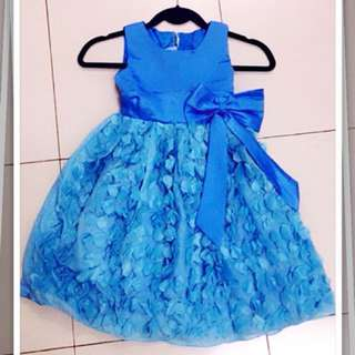 QQ Kids Children Sleeveless Princess Dress Girls Flower Chiffon Formal Blue dress