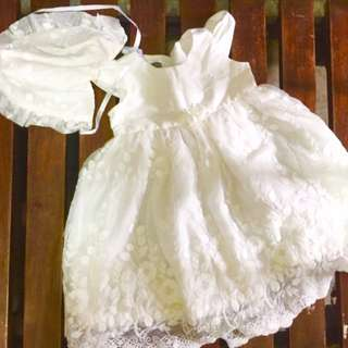 White dress for 9mos to 1 year old pambinyag