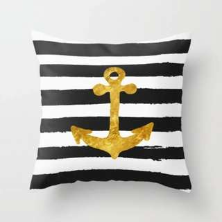 Gold Anchor on black and white stripes Throw Pillow Cover