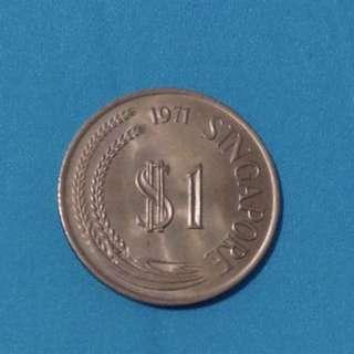 Vintage Rare $1 Singapore Coin