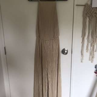 Crimped creamy gold jumpsuit