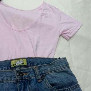 Pink Low Neck Top