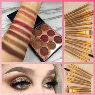 Beauty glazed eyeshadows/15 pcs feather brushes(brand new)