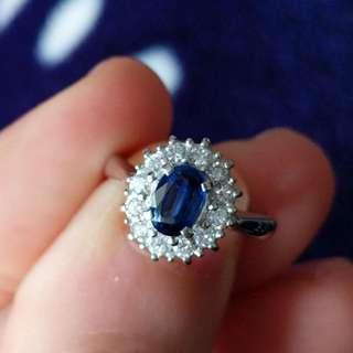 Sapphire and Diamonds Platinum Ring - New Arrival