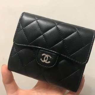 Chanel 羊皮短款銀包 99%new 保證真品