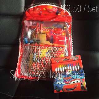 Mcqueen Car Children's Birthday Party Goodies Bag with crayon