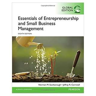 Essentials of Entrepreneurship and Small Business Management, 8th Global Edition  BY Norman M. Scarborough (Author), Jeffrey R. Cornwall  (Author)
