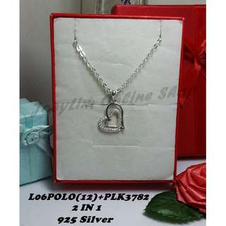 Valentine Set Genuine SILVER 925 Necklace & Pendant