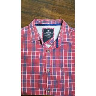 COTTON ON red checkered long sleeves polo