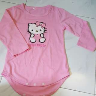 Pink Long Sleeve Hello Kitty Romper