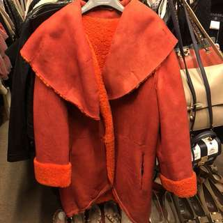 Simonetta Ravizza orange lamb skin overcoat jacket size 40