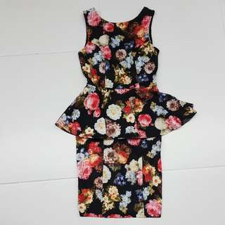 (2nd item 30% off) Love Bonito Floral Peplum Dress
