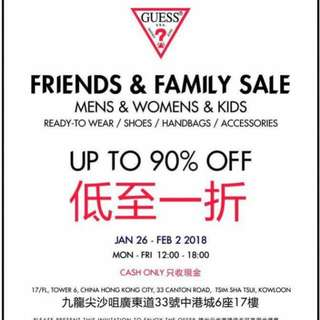 Guess Friends and family sale