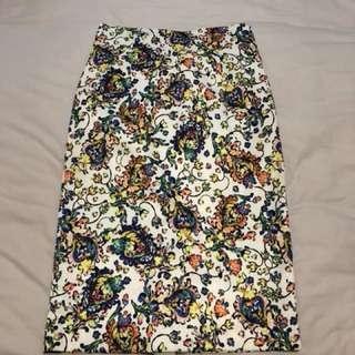 Bysi floral work midi skirt