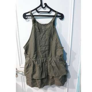 Green army overall dress