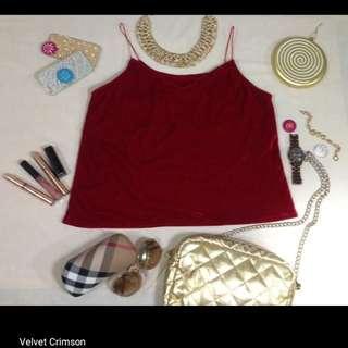 Crimson red velvet spaghetti strap top