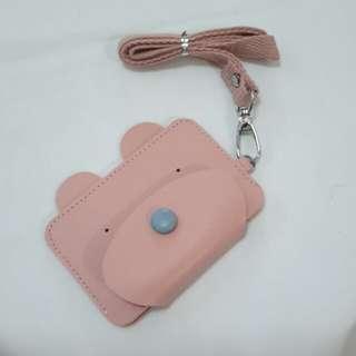 Card holder with lanyard: Pink Bear design