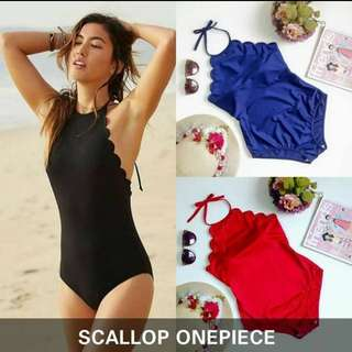 One piece scallop swimsuit