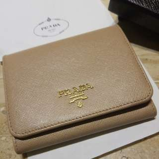 Prada Saffiano Leather Trifold Flap Wallet (Cammeo Beige)
