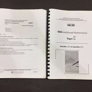 IGCSE Past year papers (50% used)
