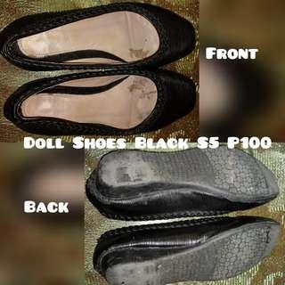 Preloved doll shoes black s5