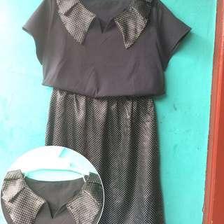 Dress black with pulkadot