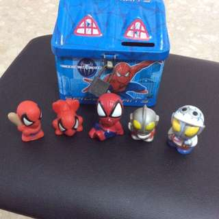 Ultraman & Spiderman With Coin Bank