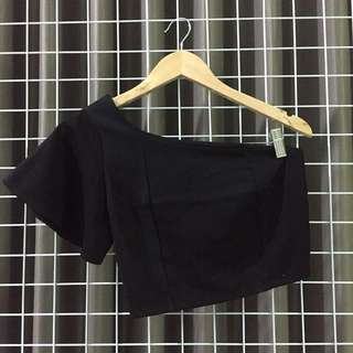 Black one shoulder crop top
