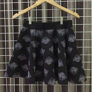 Black monkey flare skirt