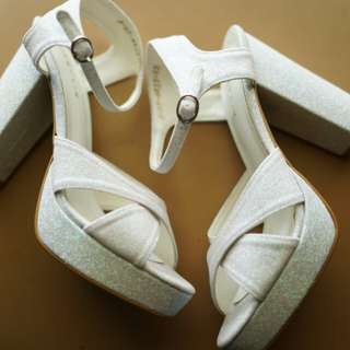 White Chunky Heels Shoes